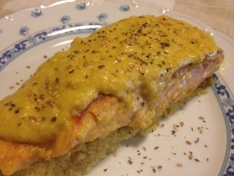 Salmón a la naranja en base de couscous